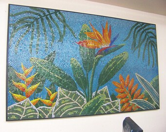 Vitreous Glass Tile Tropical Mosaic Art Piece