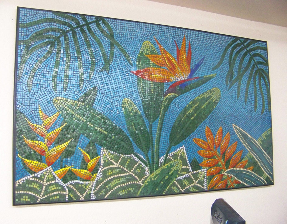 Vitreous glass tile tropical mosaic art piece for Mosaic tiles for craft