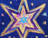 CLOSE-OUT - Gold Star Blue Night - Original Painting, Acrylic Painting, Gift Item, For Child, Small Painting, Mini Painting,  Gallery Wrap