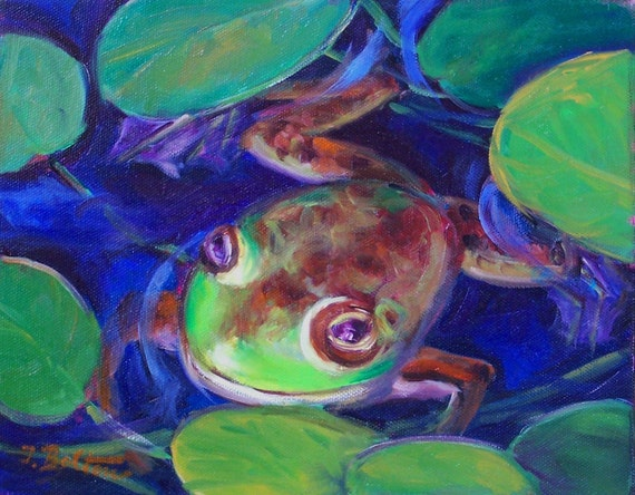 Frog Mini Oil Painting on Canvas by ingridspaintings on Etsy