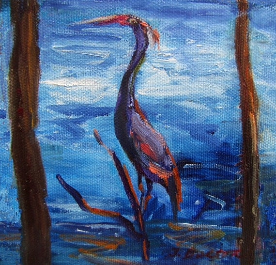 """Crane, Grey Heron, Gray Heron, Original Oil Painting, Mini Painting, Blue, Gray, Brown,on stretched canvas, 5""""x5""""wide, 1.5""""thick, Gift Item"""