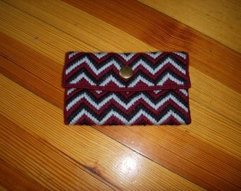 SALE Vintage Hand Embroidered Zig Zag Wallet Change Purse Sky Blue Navy Blue Burgundy Yarn Snap Closure Lined
