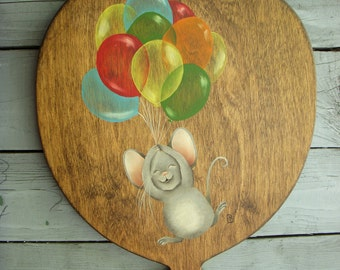 Vintage Wooden Balloon Wall Hanging With Hand Painted Mouse And Balloons 1980s Children Baby Kids