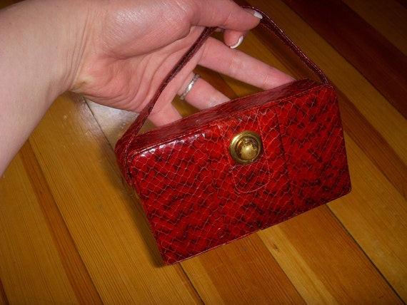 SALE Vintage Small Leather and Snakeskin Clutch Compact Purse With Make Up Compartment Mirror Etc