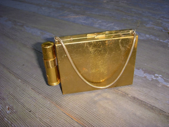 Vintage 1940's or 1950's Evening Clutch and Compact Purse Clutch With Loose Powder Case and Lipstick Case
