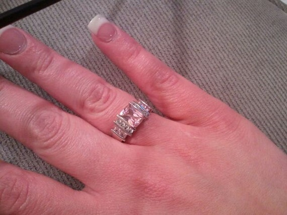 Reserved for PrimitiveGoodes Vintage Sterling Silver Pink Zircon and Cubic Zircon Ring 1980s Sparkling 925