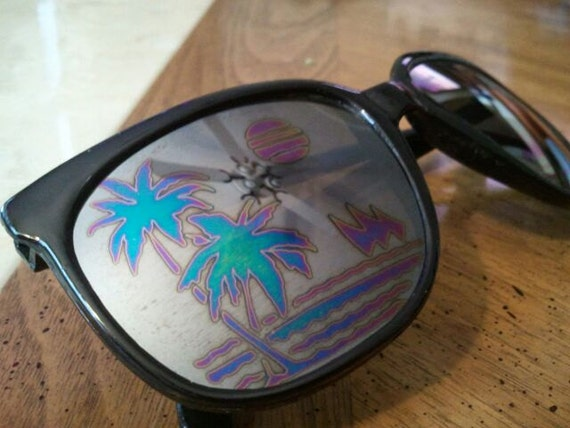 Vintage Black Sunglasses Palm Trees Ocean Sailboats and Sunsets Lenses Summer Unisex 1990s