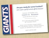 NY GIants Football Party Invitation DIY Ready To Print  (more colors and teams available)