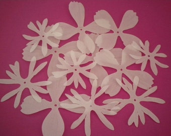 12 White Fabric Flowers by Imaginisce (from the To Love and Cherish Collection