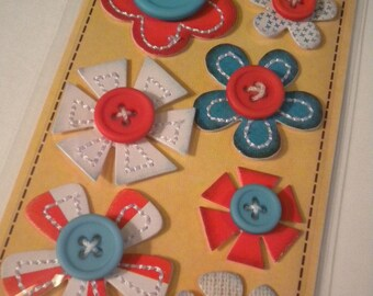 Red and Blue In a Stitch Blossoms by Sassafras Lass
