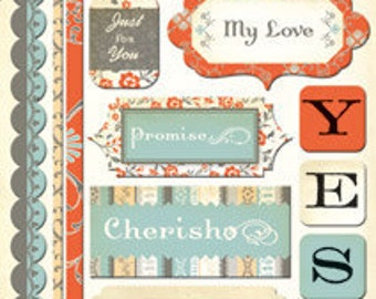 "Everafter Cardstock Stickers by Cosmo Cricket 5.5"" x 13"" sheet"