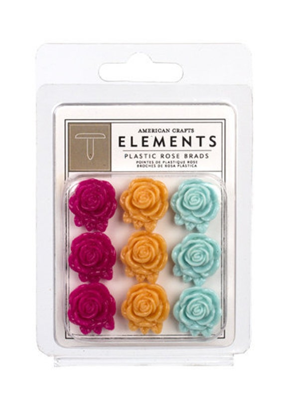 Rose Brads Peachy Keen Elements by American Crafts 85539