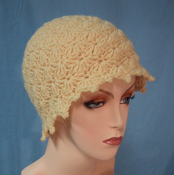 Shell Scalloped Hat - Beanie - Hand Crocheted - Butter Color Soft Acrylic Yarn - Handmade - Ladies Size Medium - CLEARANCE 1/2 PRICE