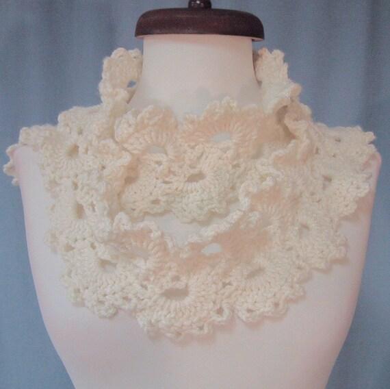 Lacy Scarf - Ivory/Winter White - Fashion Accessory - Hand Crocheted - Soft Acrylic Yarn - Handmade