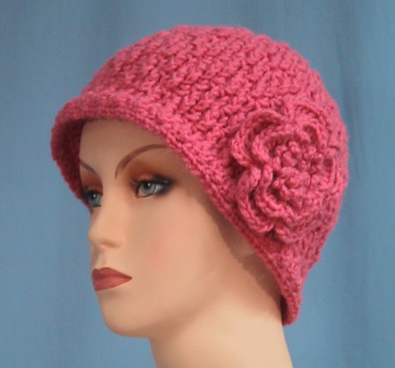 CLEARANCE PRICED - Beanie Hat with Flower - Light Raspberry - Hand Crocheted - Soft Acrylic Yarn - Warm Ski Cap - Ladies Size Large