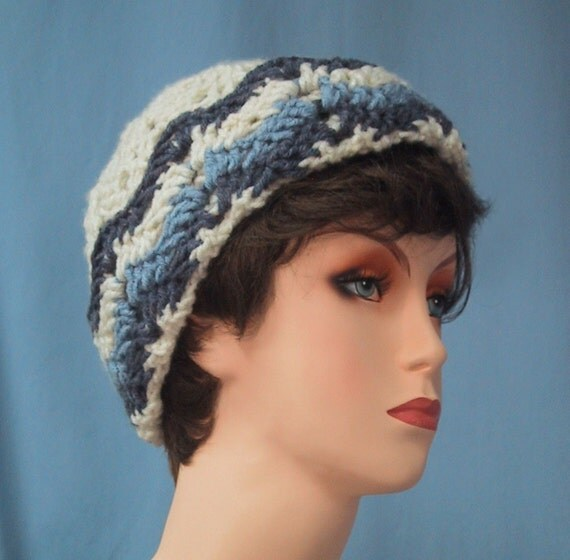 CLEARANCE PRICED - Ski Hat Beanie - Denim Blues & Ivory - Hand Crocheted - Soft Acrylic Yarn - Warm Winter Cap - Ladies or Girls