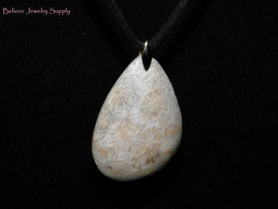 GENUINE CORAL FOSSIL Pear Or Teardrop Shaped Focal Pendant Bead Necklace On Adjustable Black Velvet Cord