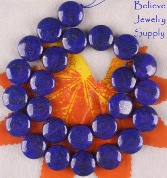 14mm LAPIS LAZULI Midnight Blue And Gold Genuine Gemstone Round Coin Or Button Shaped Beads On Full Strand