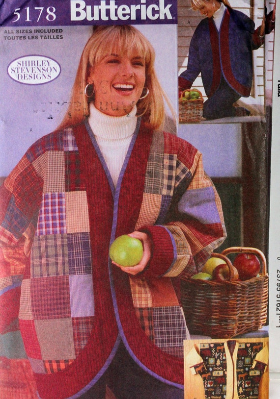 Size 8 - 22 UNCUT Butterick 5178 Over-sized Jacket Reversible Patchwork  Shirley Stevenson Design Women Misses Sew Sewing Pattern