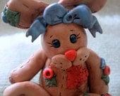 Polymer Clay Bunny With Big Heart and Big Feet