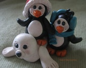 Polymer Clay Penguins with Seal - trinasclaycreations