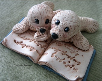 Polymer Clay Seal, Two Little Seals Reading A Book, Seals, Wedding Cake Topper