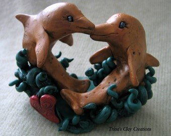 Polymer Clay Dolphin Kiss