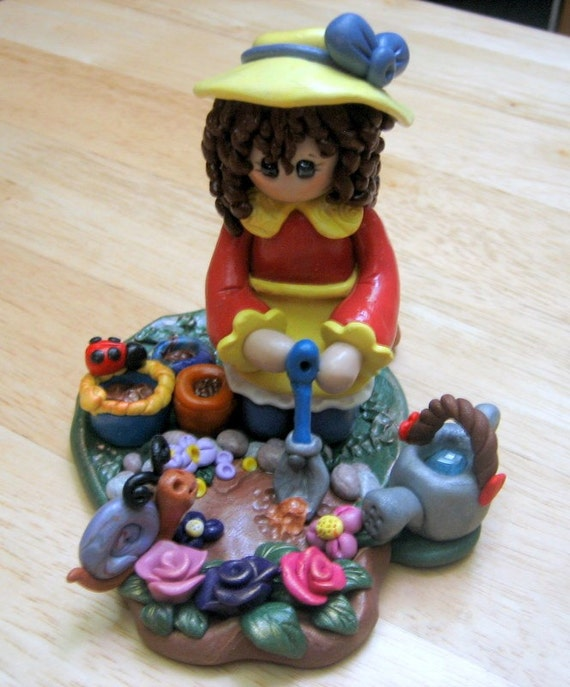 Polymer Clay Girl in Garden - Love My Garden