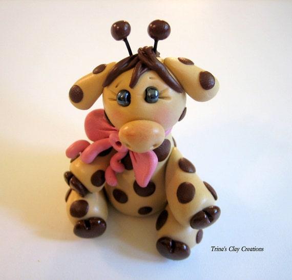 Polymer Clay Baby Giraffe Cake Topper
