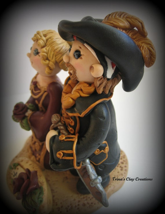 pirate ship wedding cake topper wedding cake topper custom pirate and by trinasclaycreations 18617