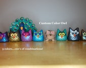 polymer clay owl-made to order color of your choice 100's of color combinations