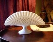 Banana Boat Pedestal Milk Glass Vase