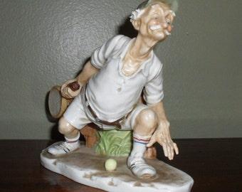 Goofy Old Man Tennis Player Figurine