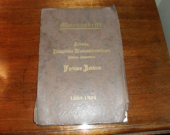 Minnesskrift Antique Swedish Book