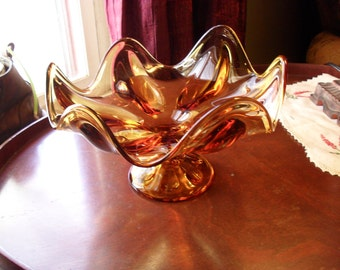 Amber Viking Glass 6 Petal Compote