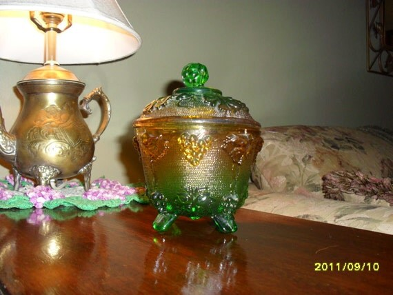 Jeanette Green and Gold Glass Candy Dish