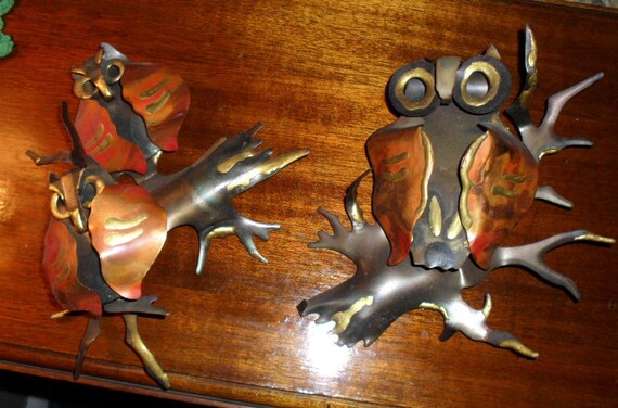 Metal and Copper Owl Wall Decorations