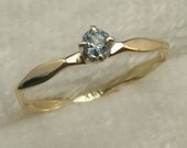 Aquamarine 14k Gold Baby Ring size 00, hand crafted March Birthstone, handmade 14 K yellow, white, or rose gold