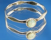 Opal Ring, October birthstone, Stackable, Hammered Faceted Recycled Sterling Silver Band