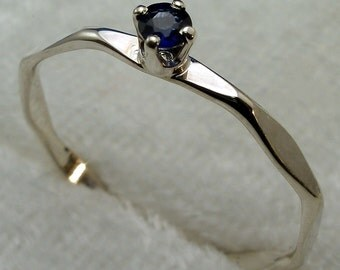Blue Sapphire Ring, Stackable, Recycled Sterling Silver, September Birthstone