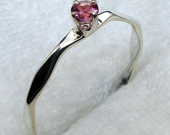 Pink Tourmaline, October Birthstone Stackable Ring, Hand Crafted Recycled Sterling Silver, handmade hammered silver band, hand forged