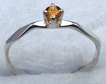 Yellow Citrine, November Birthstone, Stacking Hammered Faceted Recycled Sterling Silver Ring, handmade, hand crafted