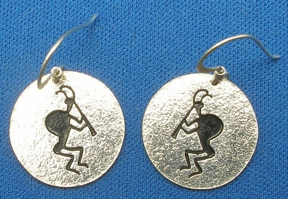 Kokopelli Petroglyph Earrings,  La Cieneguilla, New Mexico, hand crafted recycled sterling silver, handmade