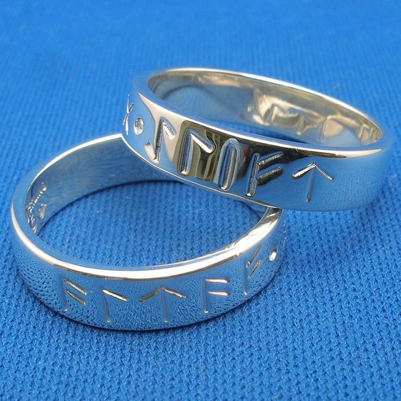 always and forever norse rune love spell rings sterling silver wedding commitment bands - Norse Wedding Rings