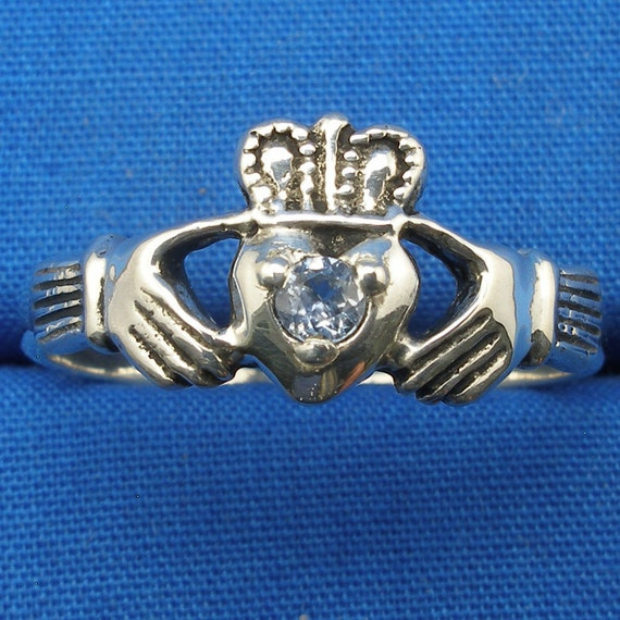 Light Blue Sapphire Claddagh Ring, Hand Crafted Sterling Silver, Celtic Ring