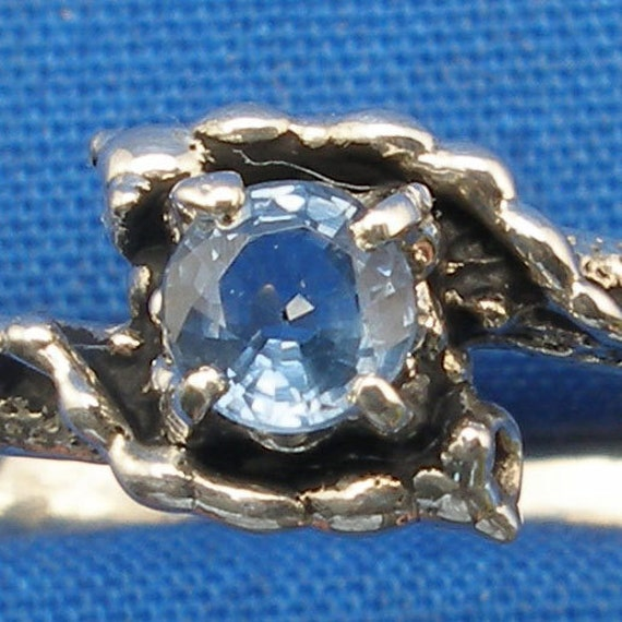 Light Blue Sapphire Mythological Stone Protector Critters, September Birthstone Sterling Silver Ring