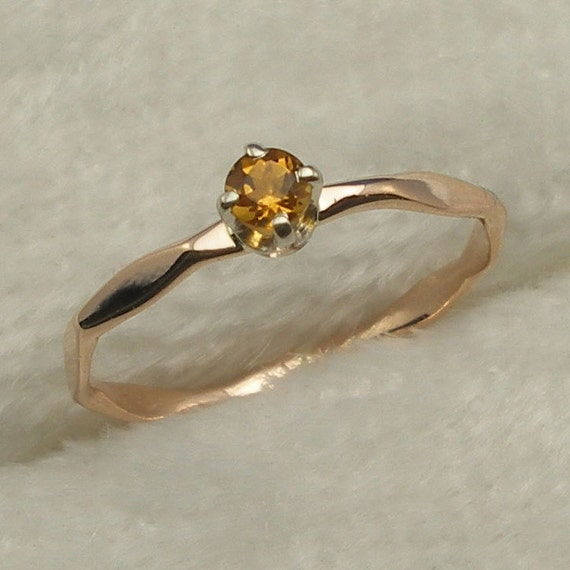 14k Rose Gold Citrine Baby Keepsake Ring size 00, November Birthstone