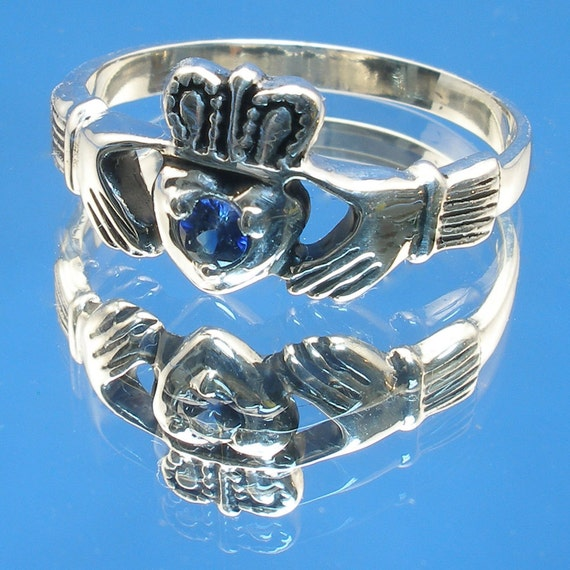 Claddagh Ring, Kashmir Blue Sapphire, Hand Crafted Sterling Silver Celtic Ring