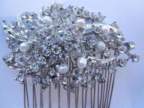 Fresh water pearl bridal hair jewelry wedding hair comb 1920's bridal hair accessories wedding jewelry bridal hair comb wedding hairpiece