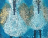 Side by Side, sandpipers, original watercolor, small